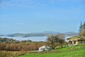 Ty mam mawr roundhouse and yurt looking to west autumn 1