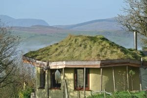 Arenig fawr in the distance ty mam mawr straw bale roundhouse off grid eco retreat centre