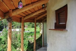 The porch on the straw bale roundhouse at ty mam mawr eco retreat centre nearly ready for painting now