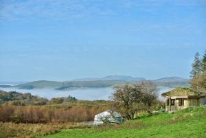 Ty mam mawr roundhouse and yurt looking to west autumn