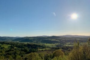 A sunny may afternoon in the dee valley looking out at arenig fawr from just above ty mam mawr eco retreat centre 1 off grid sustainable eco glampsite and glamping