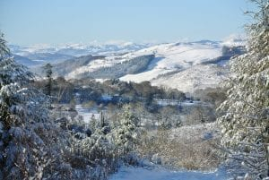 Dee valley in the winter off grid sustainable eco glampsite and glamping