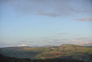 Dee valley on an autumn morning after a wee snowfall off grid sustainable eco glampsite and glamping