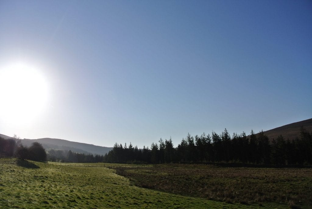 Looking east in the morning off grid sustainable eco glampsite and glamping