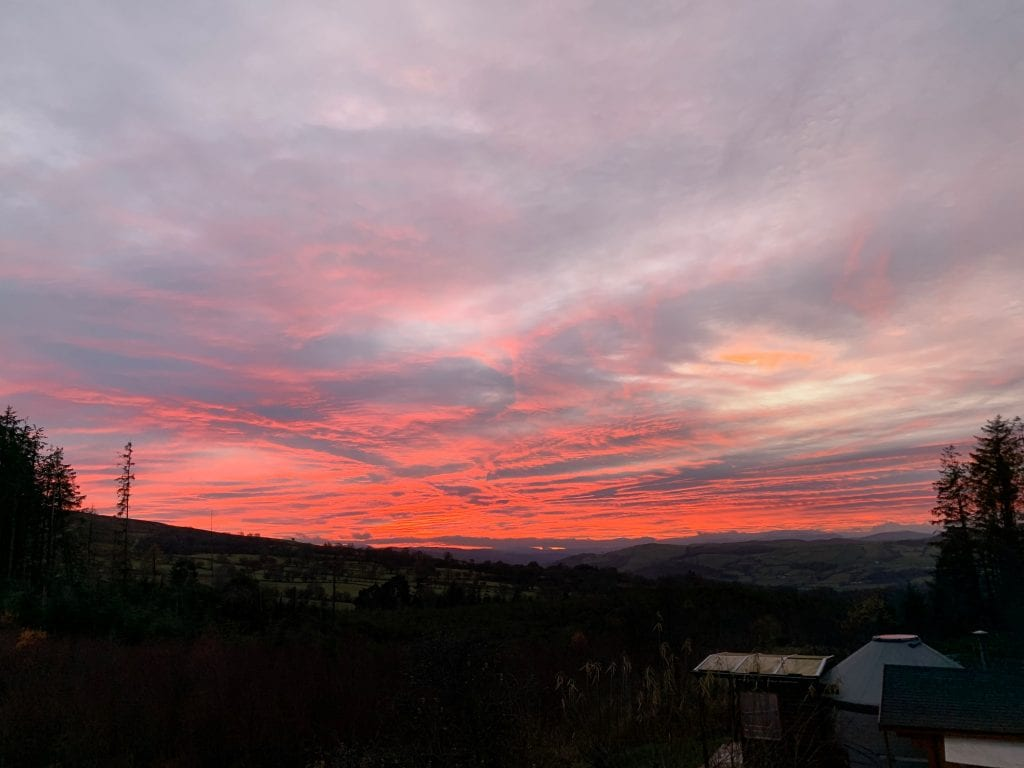 Red sky at night...ty crwn bach idris off grid sustainable eco glampsite and glamping