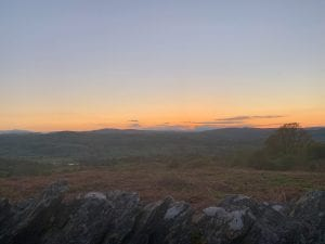 Snowdon and the dee valley after sunset from ty mam mawr off grid sustainable eco glampsite and glamping