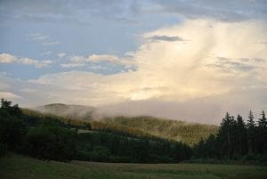 Strange morning mist and light off grid sustainable eco glampsite and glamping