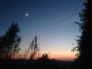 Sunset and the moon off grid sustainable eco glampsite and glamping