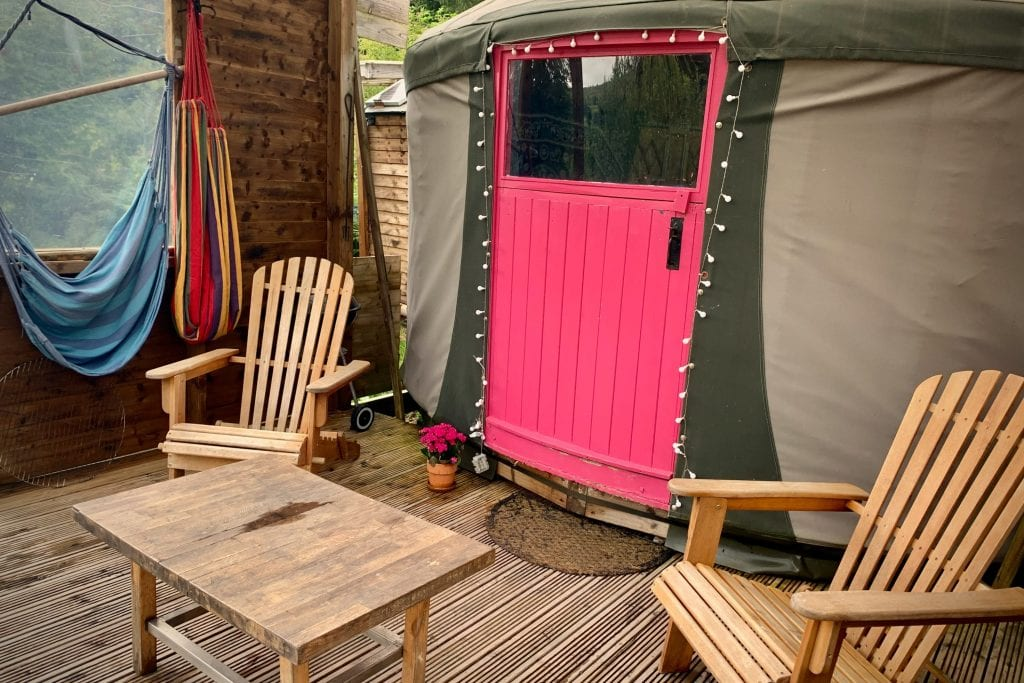 Ty crwn bach idris yurt deck off grid sustainable eco glampsite and glamping