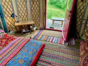 Ty crwn bach idris yurt inside 2 off grid sustainable eco glampsite and glamping