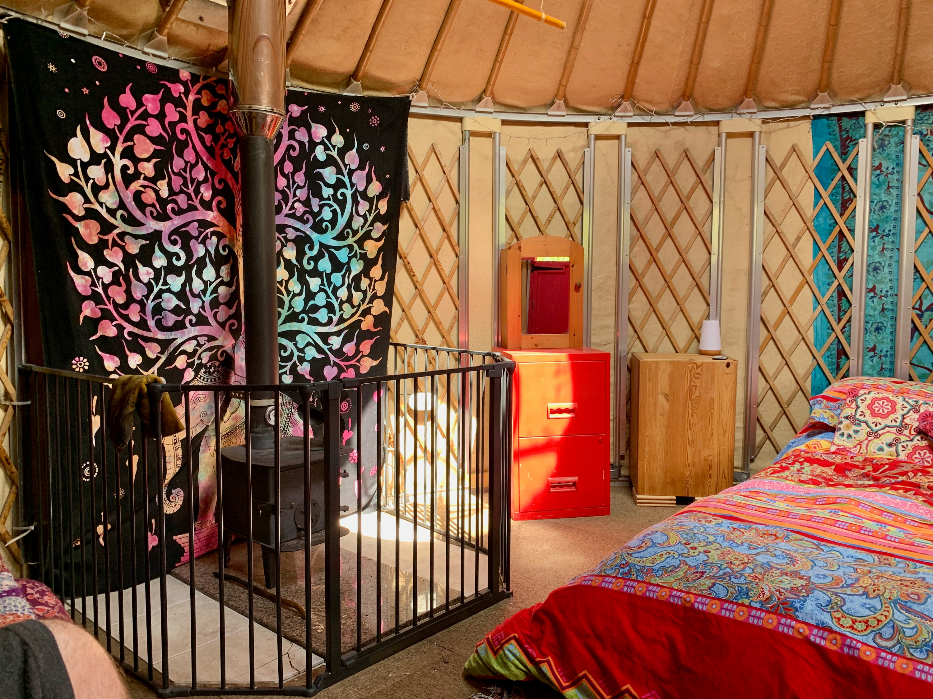 Ty Crwn Bach Idris Yurt Inside (3) Off Grid Sustainable Eco Glampsite And Glamping