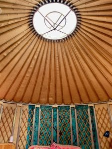 Ty crwn bach idris yurt inside 4 off grid sustainable eco glampsite and glamping