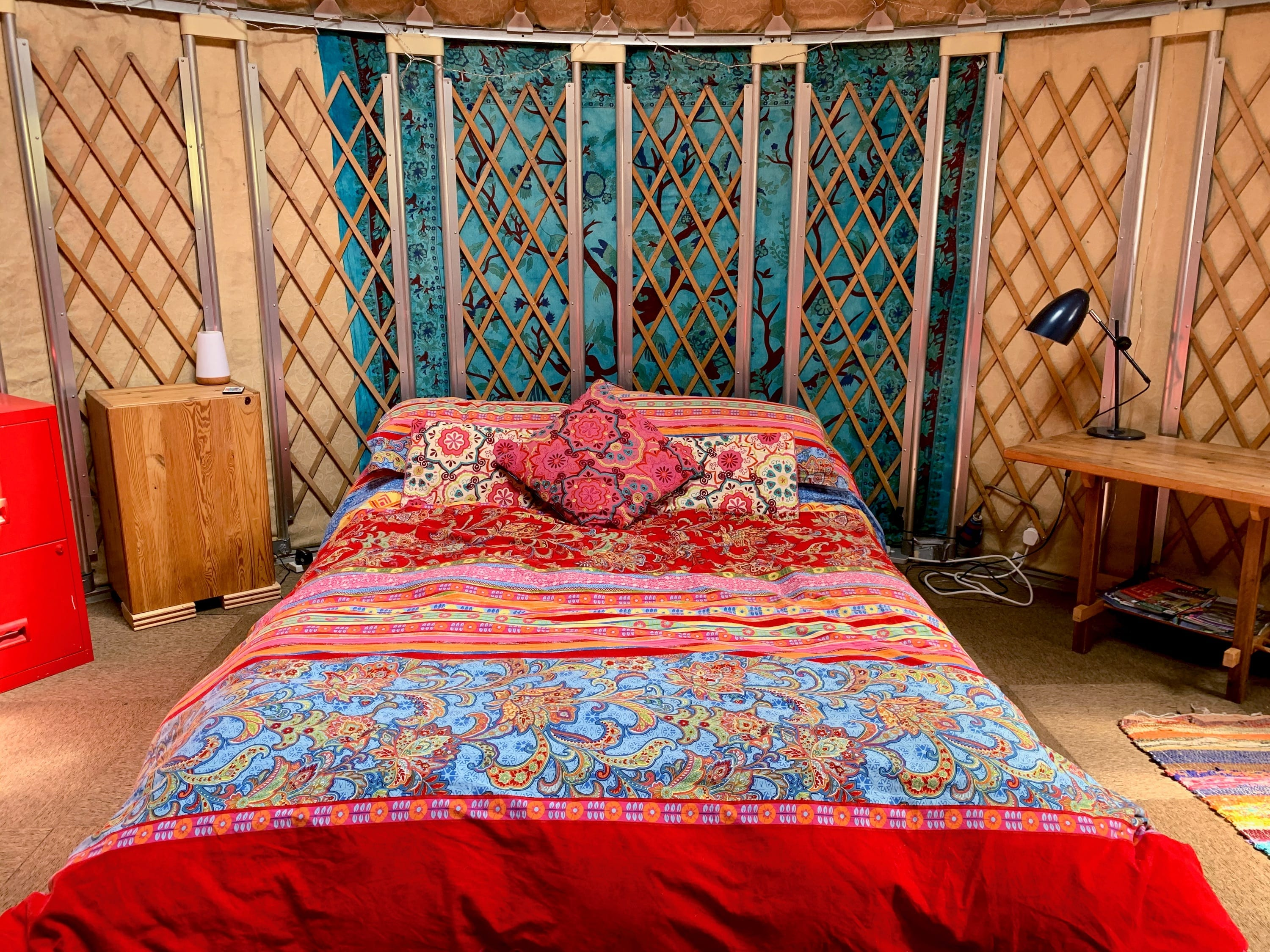 Ty Crwn Bach Idris Yurt Inside (6) Off Grid Sustainable Eco Glampsite And Glamping
