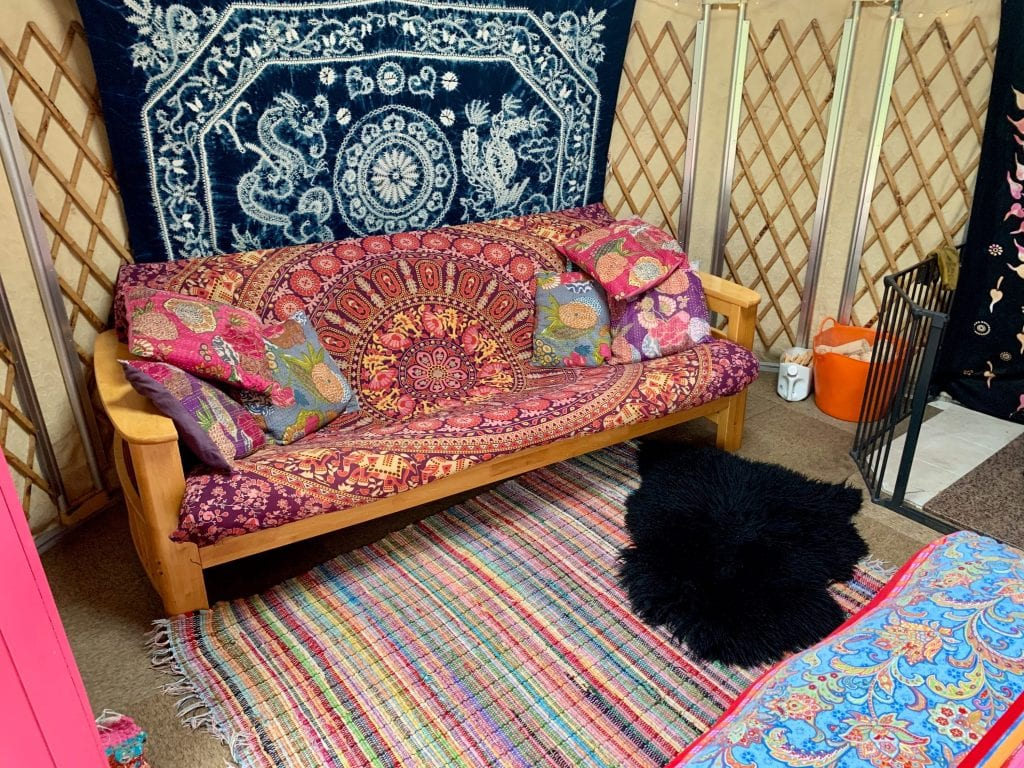 Ty crwn bach idris yurt inside 8 off grid sustainable eco glampsite and glamping