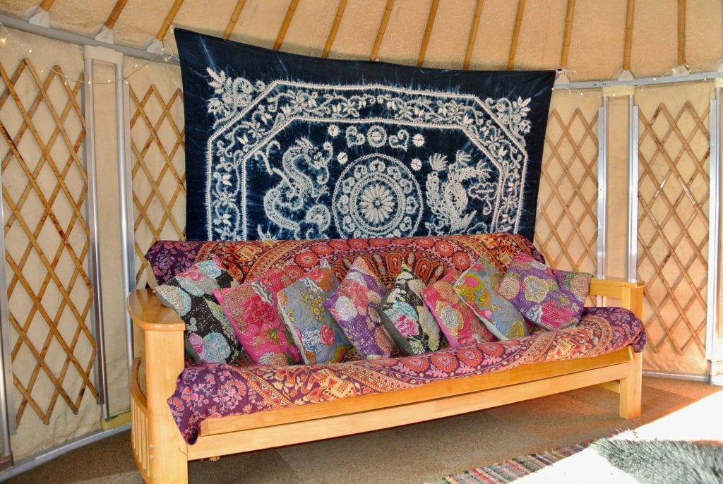 Ty crwn bach idris yurt interior 1 off grid sustainable eco glampsite and glamping