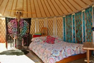 Ty crwn bach idris yurt interior off grid sustainable eco glampsite and glamping