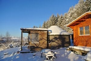 Ty crwn bach idris yurt and log cabin in the snow off grid sustainable eco glampsite and glamping