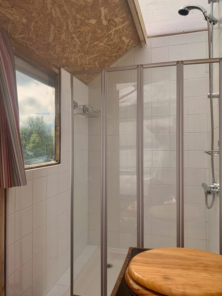 Ty crwn mawr yurt bathroom compost loo with a view off grid sustainable eco glampsite and glamping