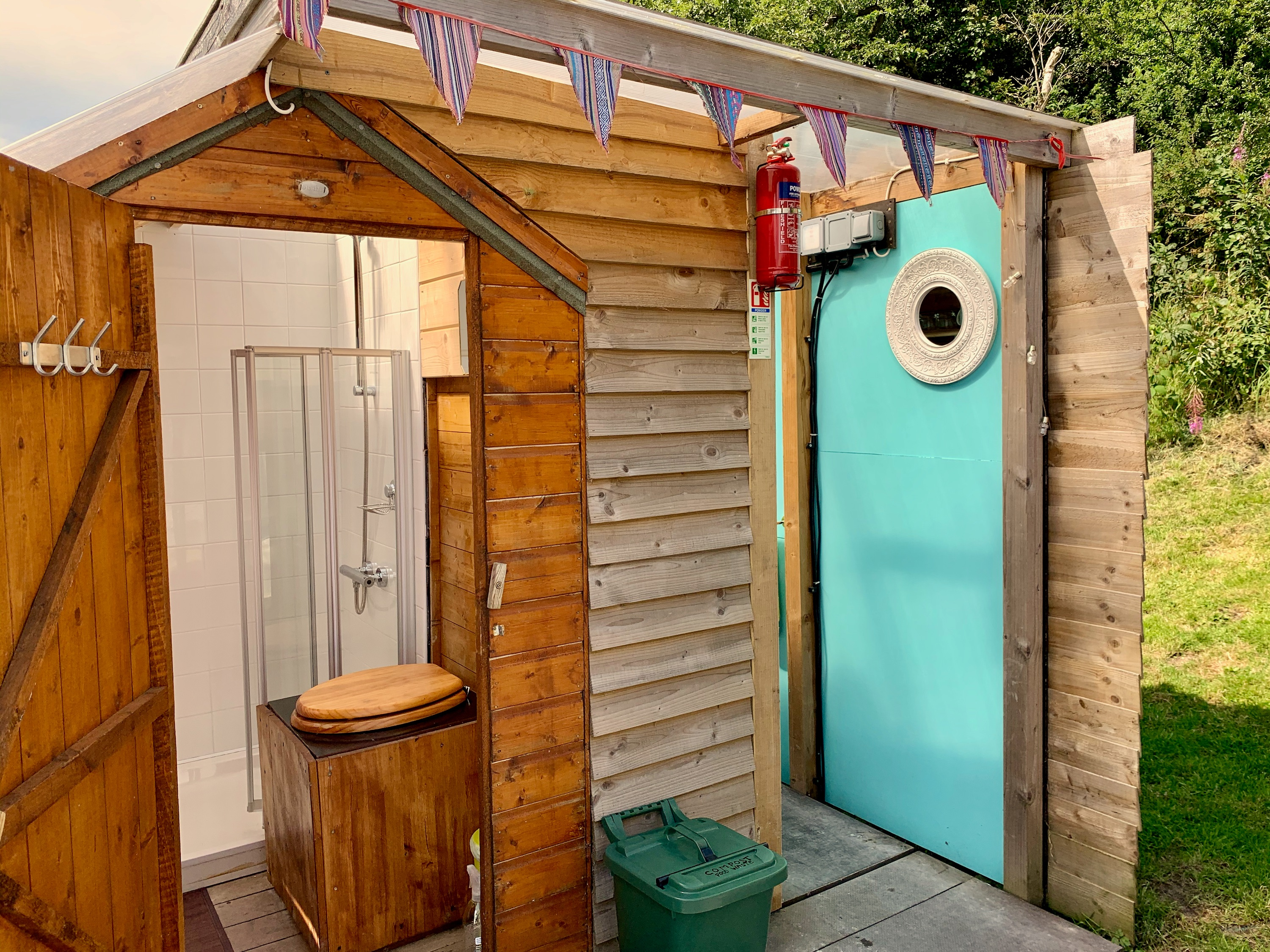 Ty crwn mawr yurt bathroom and kitchen shed off grid sustainable eco glampsite and glamping