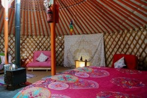 Ty crwn mawr yurt interior 1 off grid sustainable eco glampsite and glamping