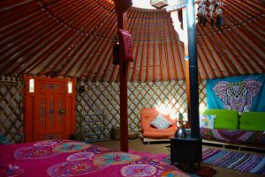 Ty crwn mawr yurt interior 11 off grid sustainable eco glampsite and glamping