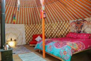 Ty crwn mawr yurt interior 12 off grid sustainable eco glampsite and glamping