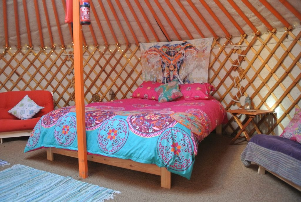 Ty crwn mawr yurt interior 13 off grid sustainable eco glampsite and glamping