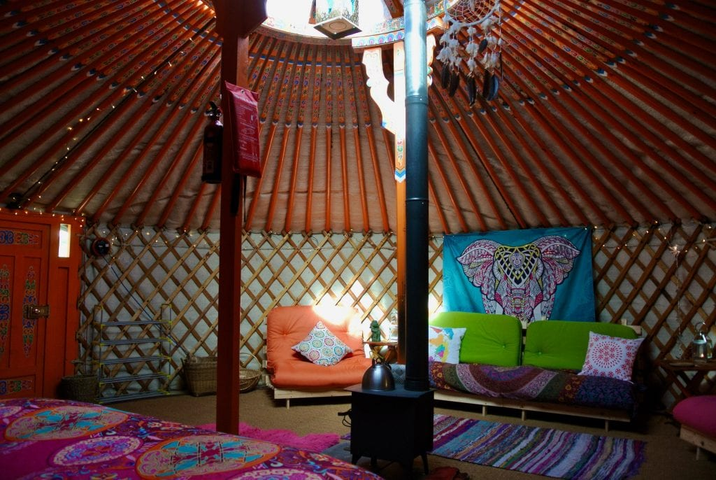 Ty crwn mawr yurt interior 14 off grid sustainable eco glampsite and glamping