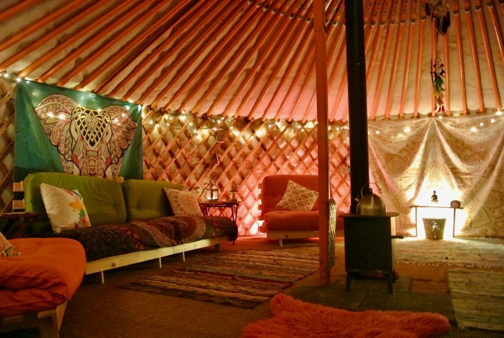 Ty crwn mawr yurt interior 15 off grid sustainable eco glampsite and glamping