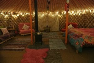 Ty crwn mawr yurt interior 17 off grid sustainable eco glampsite and glamping