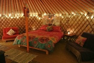 Ty crwn mawr yurt interior 19 off grid sustainable eco glampsite and glamping