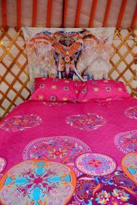 Ty crwn mawr yurt interior 2 off grid sustainable eco glampsite and glamping