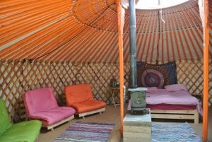 Ty crwn mawr yurt interior 3 off grid sustainable eco glampsite and glamping