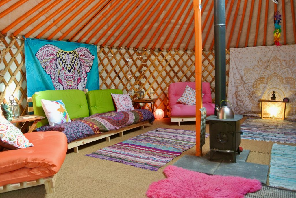 Ty crwn mawr yurt interior 4 off grid sustainable eco glampsite and glamping