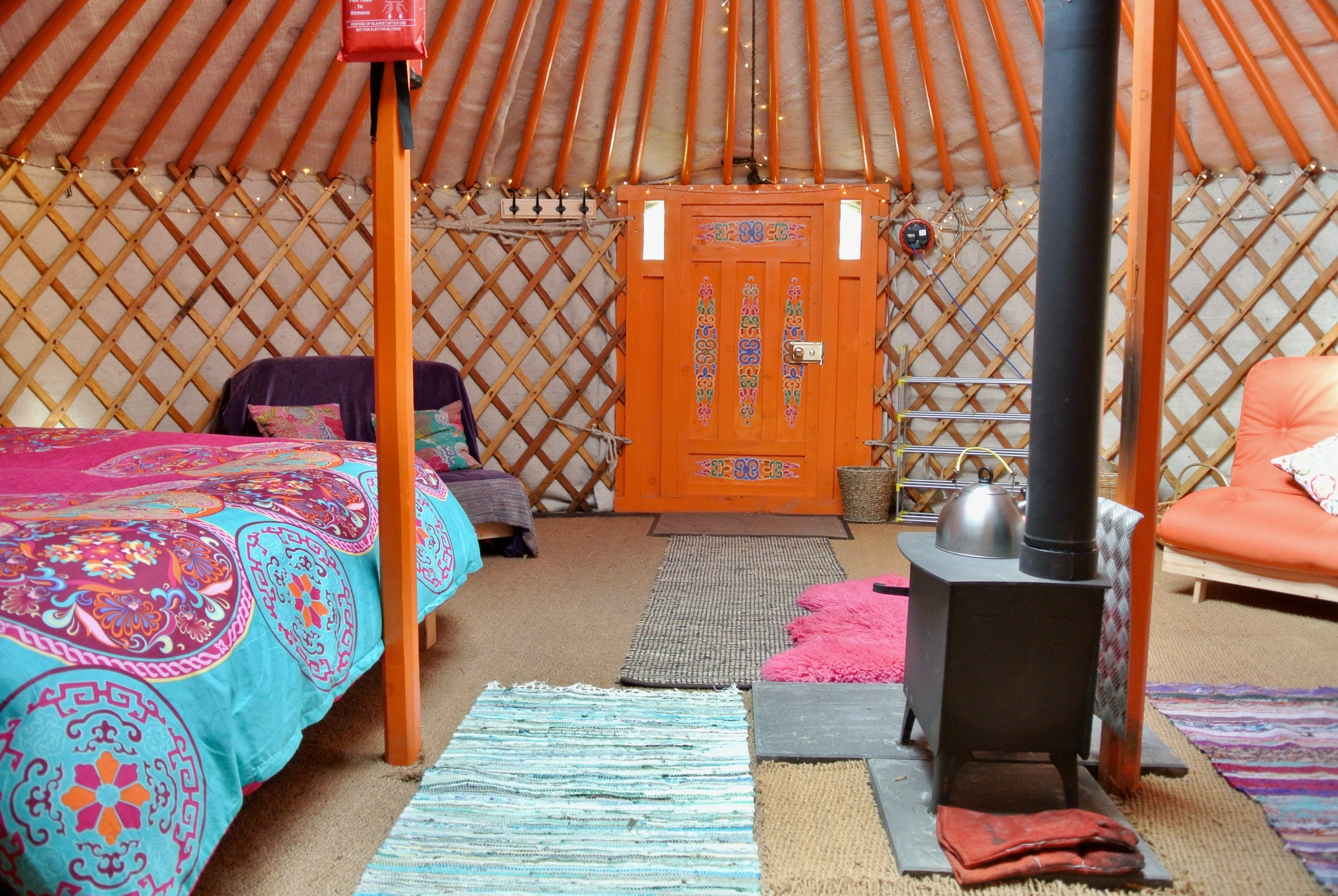 Ty crwn mawr yurt interior 5 off grid sustainable eco glampsite and glamping