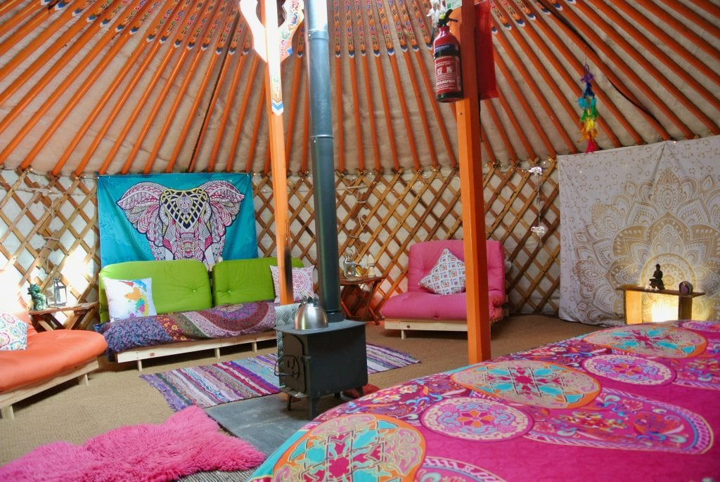 Ty crwn mawr yurt interior 6 off grid sustainable eco glampsite and glamping