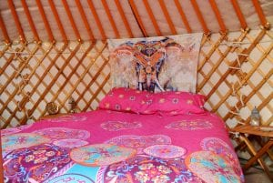 Ty crwn mawr yurt interior 7 off grid sustainable eco glampsite and glamping