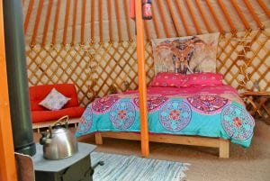 Ty crwn mawr yurt interior 8 off grid sustainable eco glampsite and glamping