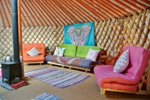 Ty crwn mawr yurt interior 9 off grid sustainable eco glampsite and glamping