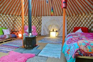 Ty crwn mawr yurt interior off grid sustainable eco glampsite and glamping