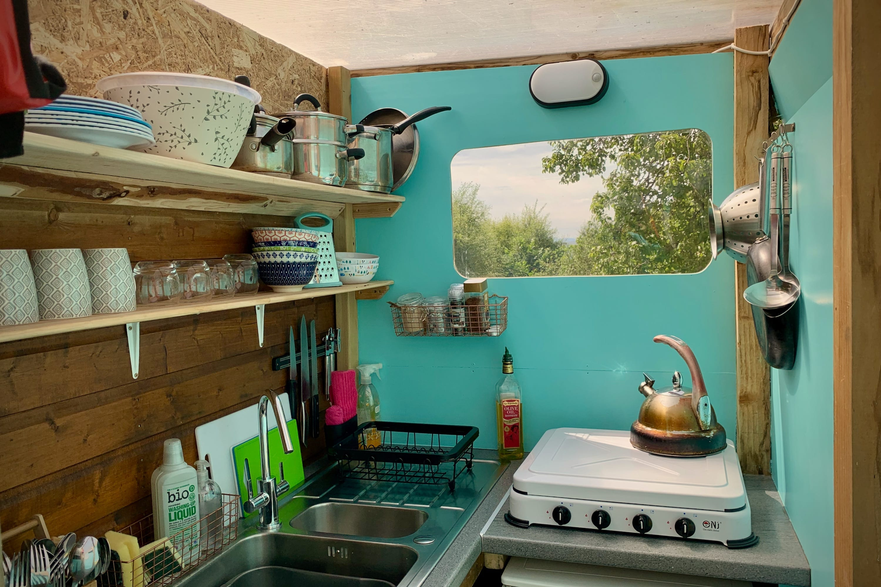Ty crwn mawr yurt kitchen off grid sustainable eco glampsite and glamping