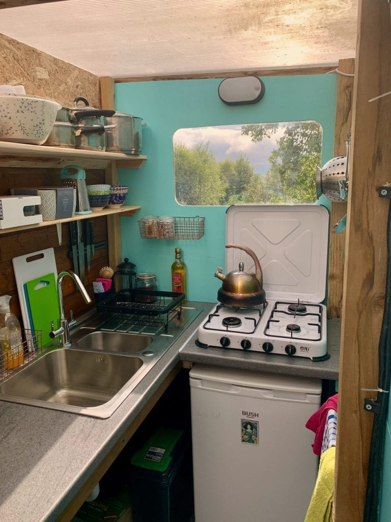 Ty crwn mawr yurt kitchen and bathroom 1 off grid sustainable eco glampsite and glamping