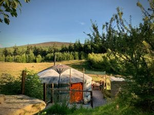 Ty crwn mawr yurt outside off grid sustainable eco glampsite and glamping