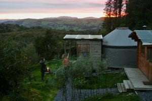 Sunset at ty crwn bach idris yurt greener glamping off grid glampsite north wales