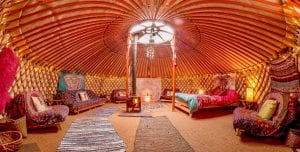 Ty crwn mawr yurt spacious and cosy authentic mongolian yurt interior off grid sustainable eco glampsite and glamping