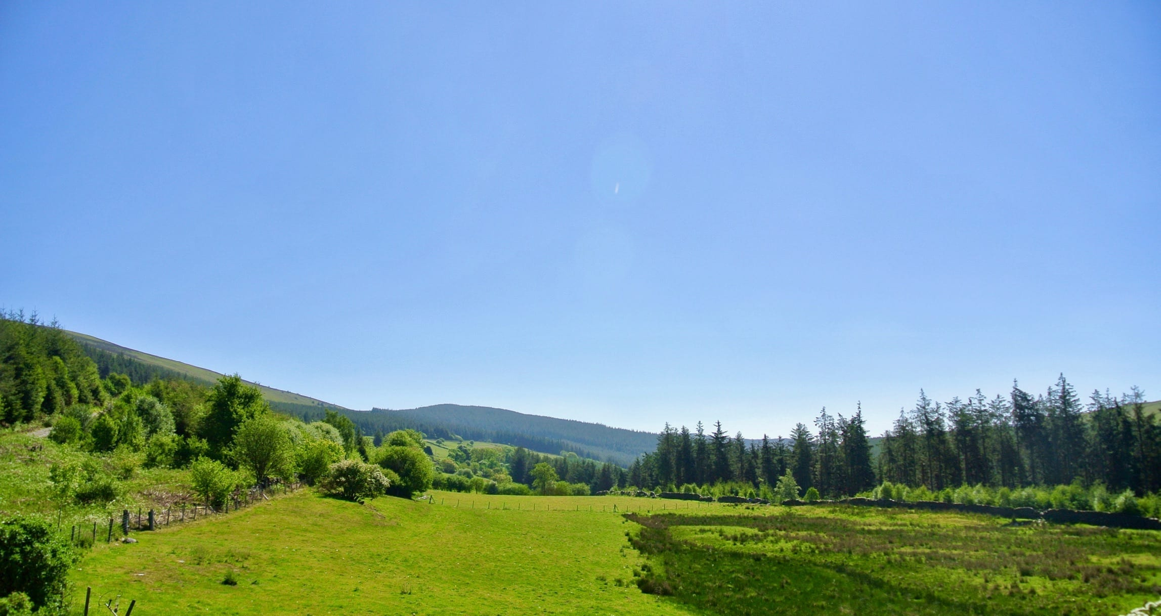 View east to moel fferna from celyn coed off grid sustainable eco glampsite and glamping