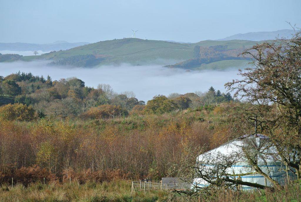Ty crwn mawr yurt the dee valley in the autumn full of the dragon breath off grid sustainable eco glampsite and glamping