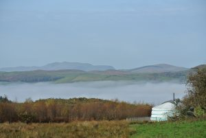 Ty crwn mawr yurt with the roundhouse and the dragon breath in the dee valley off grid sustainable eco glampsite and glamping