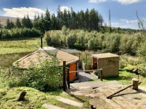 Ty Crwn Mawr yurt and Ty Bach Pren at Greener Glamping in North Wales